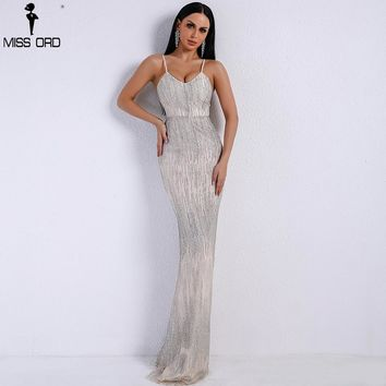 Missord 2018 Women Sexy V Neck  Off Shoulder Backless Glitter Dresses Female Elegant Party Maxi Dress Vestdios FT9226