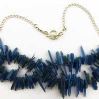 Kyanite necklace, blue shard gemstone 2 strand chain necklace, UK shop