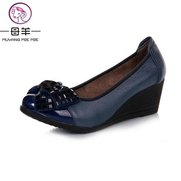 2016 new fashion high heels women pumps,women genuine leather wedge shoes woman single