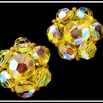 Vintage Gold Aurora Borealis Crystal Earrings, Yellow AB Crystal Clip Ons, Sunshine & Rainbows, Astronaut Wives Club