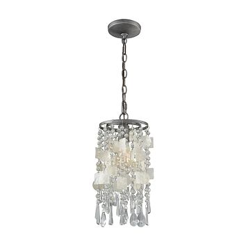15934/1 Alexandra 1 Light Pendant In Weathered Zinc With Capiz Shells And Clear Crystal