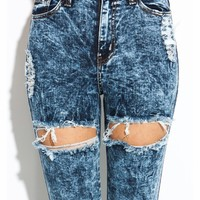 Thigh-High Cut-Out Distressed Jeans - GoJane.com