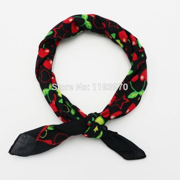 Red Cherry Cotton Bandanas Pocket Square Women Handkerchief Ladies Headscarf Girl Neckerchief Headband SUJASANMY TJ9029