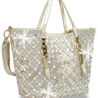 Rhinestone and Gem Design Woven Metallic Handbag In Gold