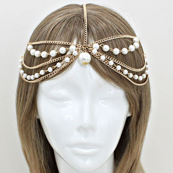 Bohemian Gold Pearl Multi Layer Head Chain Headpiece, Grecian headchain, House Of Harlow Style Gypsy head jewelry, Wedding Haadchain