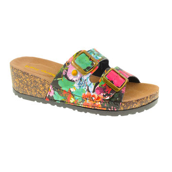 Tai Chi Buckled Footbed Sandal. Floral Print Vegan by Dirty Laundry. Size 10