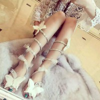 Women Butterfly high heels bow-knot crystal shoes Women Gladiator Sandal women Boots Snake Flats shoes woman plus size