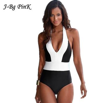 2018 Women Swimsuit Push Up New One Piece Swimwear Sexy Halter Hot Sell Beach Brazilian Swimsuit Patchwork Bathing Suit