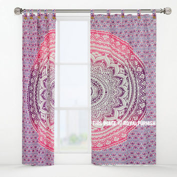Purple Pink Nash Medallion Tapestry Curtain Panel Pair on RoyalFurnish.com