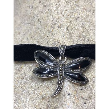 Vintage Real Marcasite 925 Sterling Silver Dragonfly dangle Pendant Necklace