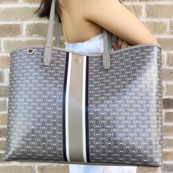 Tory Burch Gemini Link Large Tote French Gray Gemini Link Stripe Kerrington