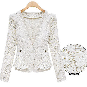 White or Black Lace Blazer