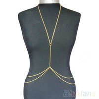 Womens Sexy Fashion Gold Body Belly Waist Chain Bikini Beach Harness Necklace = 1645646212