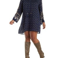 Plus Size Navy Combo Boho Print Shift Dress by Charlotte Russe