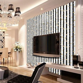 Modern Fashion Black White Stripe Wallpapers Golden Polka Dot Wallpaper Background Wall tv  PVC Wall Paper Bathroom Behang ZE084