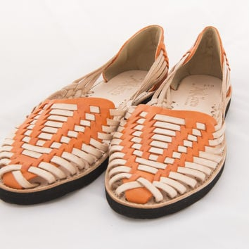 Mexican Huarache Sandals - Women's Catrina Style Orange/Natural