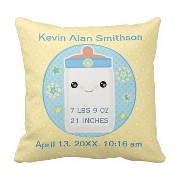 Custom Birth Announcement Boy Baby Throw Pillow