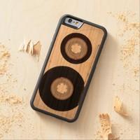 iPhone: Magnetic Tape Audio Cassette. Wooden Carved® Cherry iPhone 6 Bumper Case