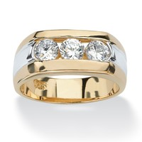 Men's 1.50 TCW Channel-Set Cubic Zirconia 18k Gold over Sterling Silver Triple-Stone Ring
