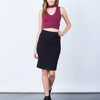 Side Zipper Pencil Skirt