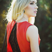 Red Open Back Dress with Black Lace Detail Sugarlips x-small by Ashley Treece