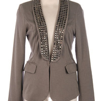 Robyn's Pick - Studded Knit Blazer - Grey