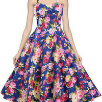 Retro Style 50s Audrey Hepburn Vintage Dress Flowers Printed Inspired Midi Halter Swing Dress