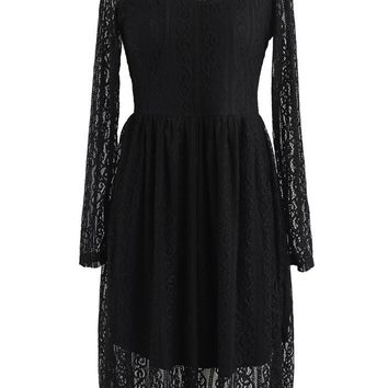 Fancy Dream Full Lace Dress in Black