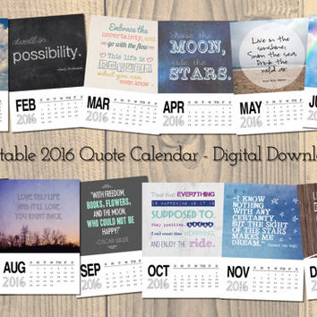 Printable Calendar 2016, Quote Calendar, Instant Digital Download, Inspirational Quotes Calendar, word art, desk calendar, wall calendar
