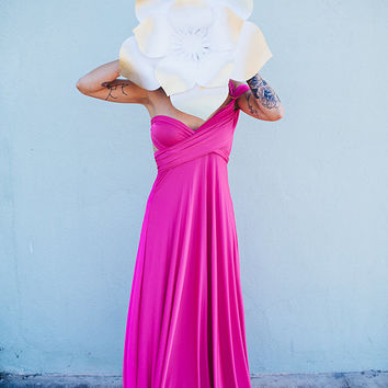 Be My Valentine- Flamingo Fuchsia-Octopus Convertible Wrap Dress-Long Infinity Gown
