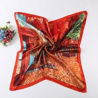 2016 New Fashion Women Square Silk Scarf Shawl Autumn Luxury Brand Design Satin Silk Scarf Painting Scarves 90*90cm Hot Sale
