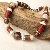 Earthy Rust Brown Cream Ethnic Tribal Necklace Rustic Choker African Trade Beads Sterling Silver SALE