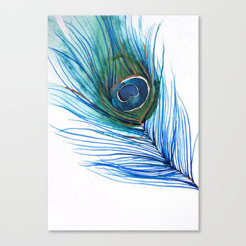 Peacock Feather I Stretched Canvas by Mai Autumn    Society6