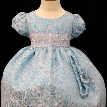 Girls Baby's Kloset Sky Blue Jacquard Faux Linen Lace Mosaic Bowtie Cap Sleeve Sky Blue SILVER Pageant Wedding Flowergirl Party dress
