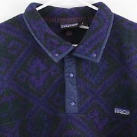 Vintage Patagonia Aztec snap fleece pullover jacket mens medium purple USA