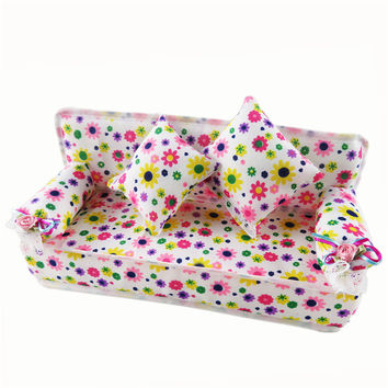 Barbie Doll Play House Cute Miniature House Furniture Flower Cloth Sofa+2 Cushions Doll Accessories For Barbie Dolls Kids Toys