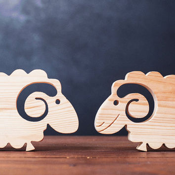 Wooden sheep decorative toy Present-gift / Ready to decorate-wooden natural -handmade