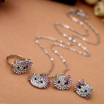 Kitty Jewelry Set - Necklace, Ring & Earrings