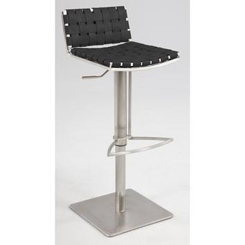 Chintaly 0882 Basket Weave Seat & Back Pneumatic Gas Lift Adjustable Swivel Stool In Black Reg. Leather