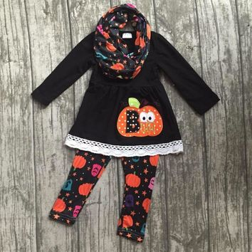 new arrival Halloween FALL/Winter baby girls outfits 3pieces scarf orange top pumpkin BOO pant boutique children cotton clothes