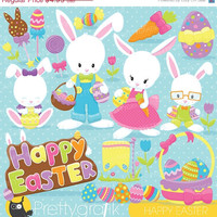 80% OFF SALE Easter bunny clipart commercial use, vector graphics, digital clip art, digital images  - CL820
