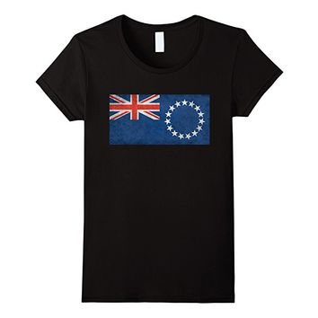 Cook Islands Flag T-Shirt in Vintage Retro Style
