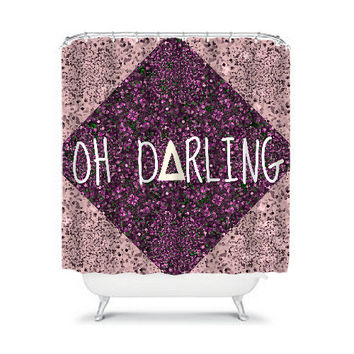 OH DARLING, Fine Art Typography Painting Shower Curtain Washable Purple Hipster Geometric Triangle Home Decor Colorful Modern Style Bathroom