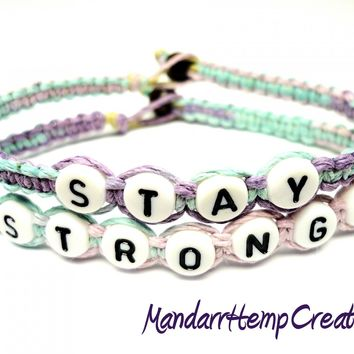 Stay Strong Bracelet Set, Multicolor Pastel Macrame Hemp Jewelry, Made to Order