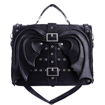 Gothic Vamp Gotham Knight Bat Wings Devil Wings Black Satchel Bag