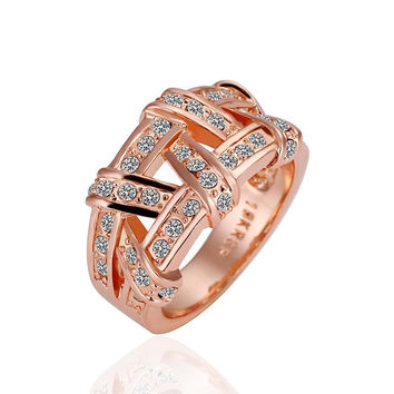 Rose Gold Plated Abstract Tied Jewels Covering Ring