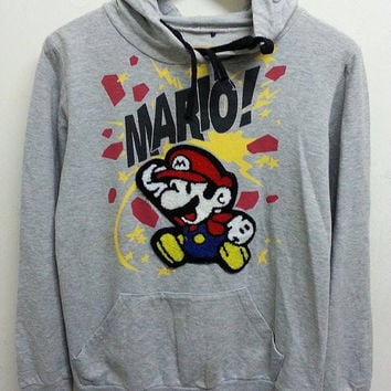 Rare Vintage Super Mario Videos Game Sweater Pullover Hip Hop Hooded Jacket