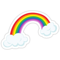 Rainbow with clouds sticker by Mhea