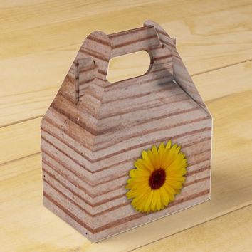 Sunflower Marigold on Rustic Wooden Boards Favor Box
