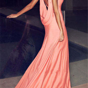Sleeveless Backless Drape Maxi Dress